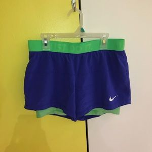 Blue and Green Dri-Fit Nike Shorts